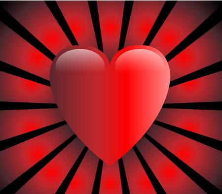 glam: Coraz�n, rojo y brillante con rayos rojos sobre fondo negro del amor  Vectores