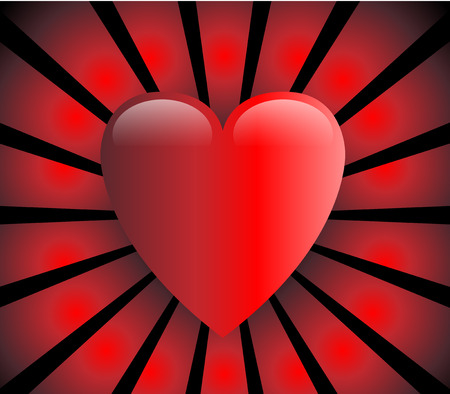 Love heart, red and glossy with red rays on black background Vector