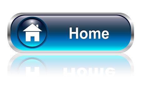 icono inicio: Icono de inicio, el bot�n, el color azul brillante con sombra, ilustraci�n vectorial