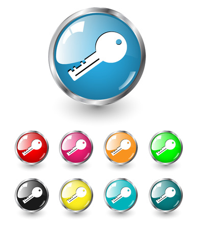 keys isolated: Signo de icono de llave, un conjunto de vectores multicolor