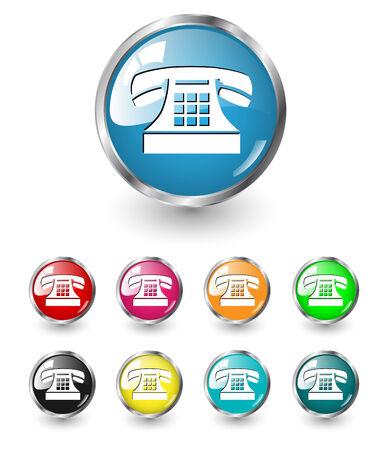 Telephone icon sign, multicolored vector set Vector