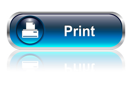 printers: Print icon, button, blue glossy with shadow