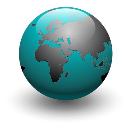 Blue detailed earth globe, vector illustration Stock Vector - 6348369