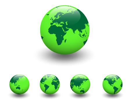 Green world - five detailed earth globe, vector illustration Stock Vector - 6348368