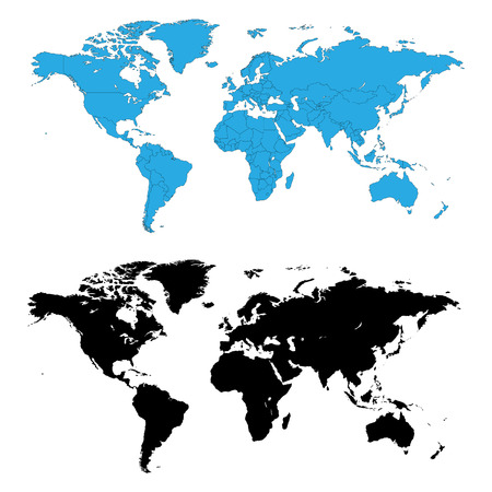 vector maps: Two detailed world maps, one with country borders, vector illustration