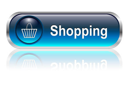 Shopping cart, buy icon button, blue glossy with shadow, vector illustration Stock Vector - 6348388