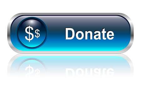 Donate, support button, icon blue glossy with shadow, illustration Vector