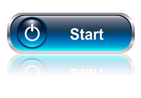 Start knop, blauwe pictogram glossy met schaduw, afbeelding