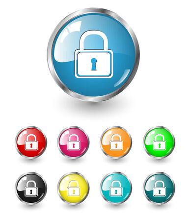 Security icon, button, multicolored set Vector