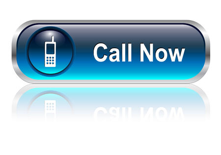 contact centre: Contact us, call telephone icon, button, blue glossy with shadow