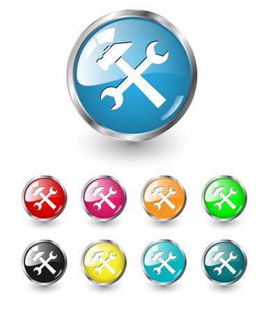 Repair icon, button multicolored set