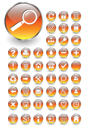 input output: Web icons for business and office orange aqua Illustration