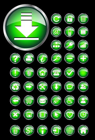 outputs: Web icons for business and office green aqua