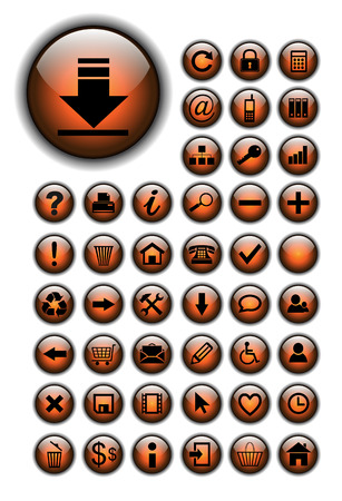 Web icons for business and office orange glossy Vector