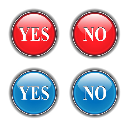 Yes and no icons, buttons Vector