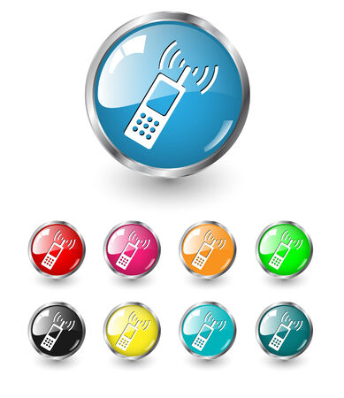 Contact, call  icon, button multicolored  Vector