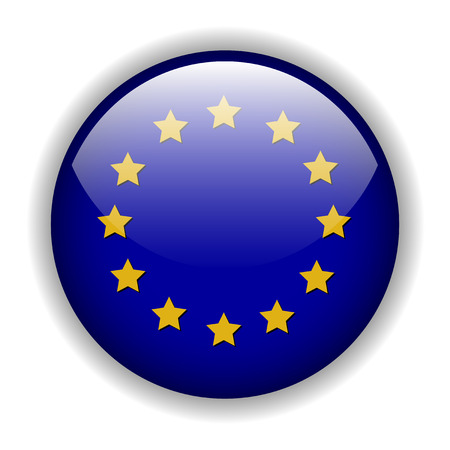 vector button: Europe EU flag button, vector Illustration