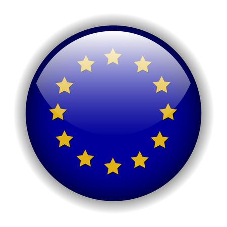 Europe EU flag button, vector Stock Vector - 6394622