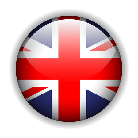 rounded circular: United Kingdom UK flag button, vector