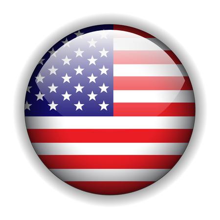 flag usa: North American USA flag button, vector