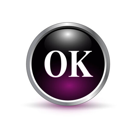 ok, accept glass button, icon vector