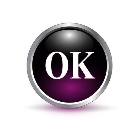 ok, accept glass button, icon vector