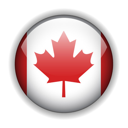 Canada flag glossy button, vector