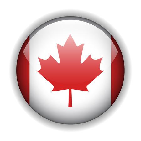 Canada flag glossy button, vector Vector