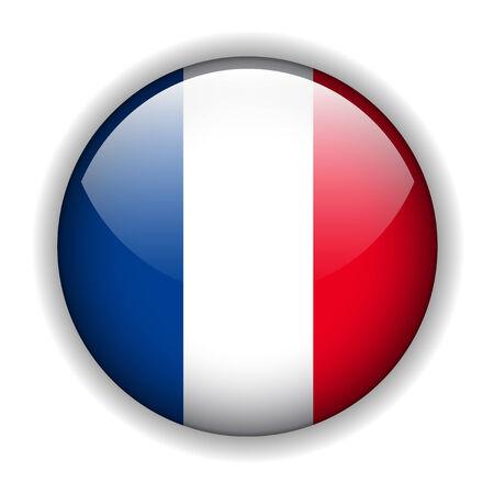 bandera francia: Bot�n de brillante de bandera de Francia, vector  Vectores