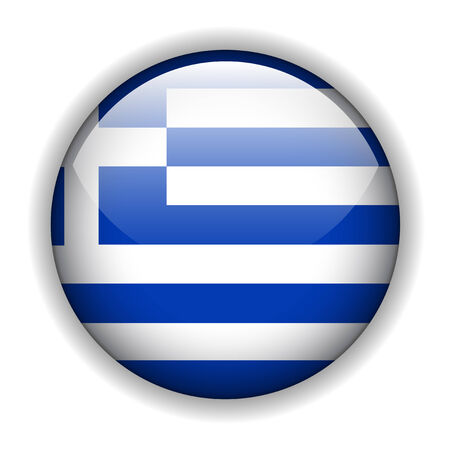 rounded circular: Greece flag glossy button, vector