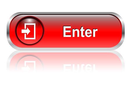 Enter te drukken, het rode pictogram glossy met schaduw, vector illustratie