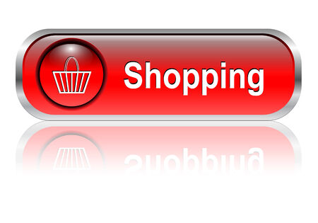 Shopping cart, buy icon button, red glossy with shadow, vector illustration Stock Vector - 6405447