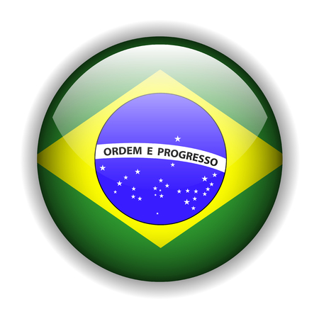 rounded circular: Brazil flag, glossy button Illustration
