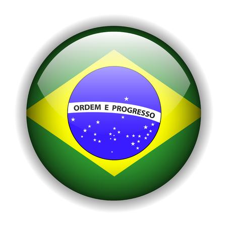 Brazil flag, glossy button