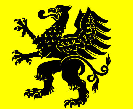 yellow jacket: heraldic stylized eagle, black on yellow background