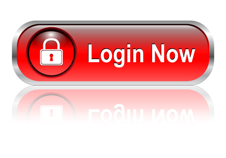 Login icon, button, red glossy with shadow