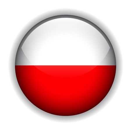 Flag of Poland, glossy button Stock Vector - 6420637