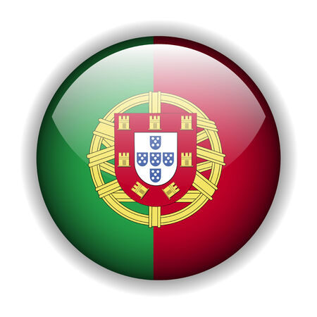 portuguese: Flag of Portugal, glossy button Illustration