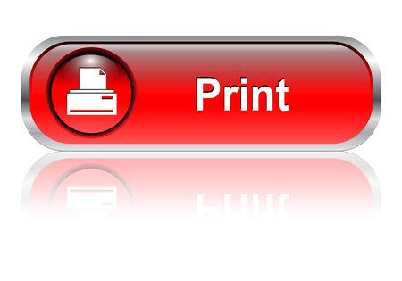 icono imprimir: Imprimir el icono, el bot�n, el rojo brillante con sombra