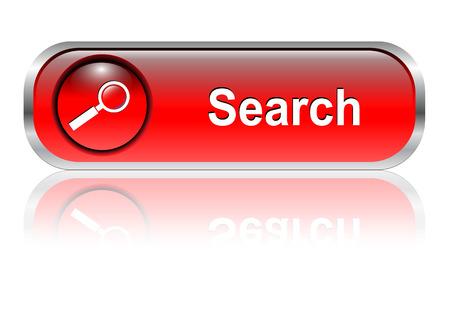 search icon: Zoek pictogram, knop, rood glossy met schaduw