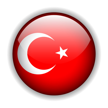 Flag of Turkey, glossy button Stock Vector - 6420642