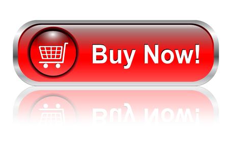 Carro de la compra, comprar el icono botón, rojo brillante con sombra Ilustración de vector