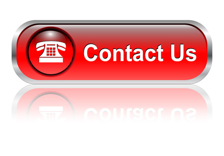 contact us sign: Contact us, telephone icon, button, red glossy with shadow