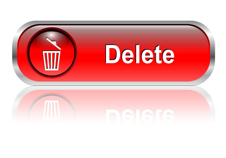 Delete button, icon red glossy with shadow Stock Vector - 6425730