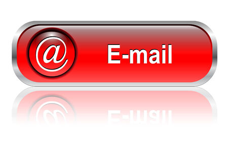 www icon: Mail, email icon, button, red glossy with shadow