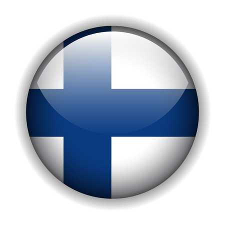finland flag: Flag of Finland glossy button