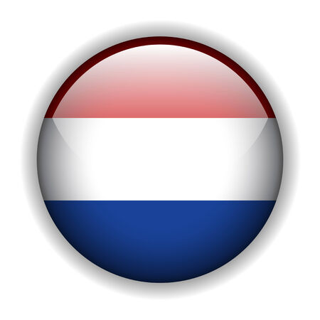 flag of Holland  glossy button Vector