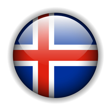 iceland: Flag of Iceland glossy button