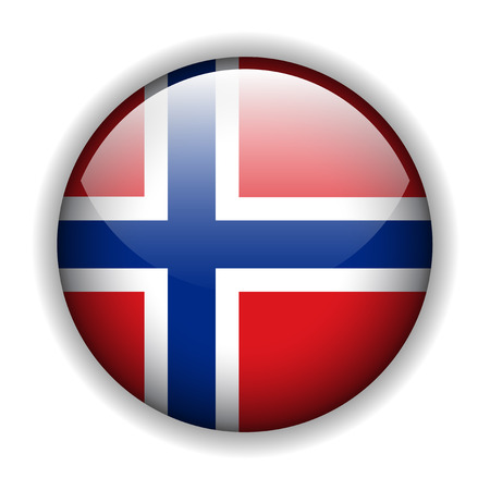 Flag of the Kingdom of Norway glossy button Vector