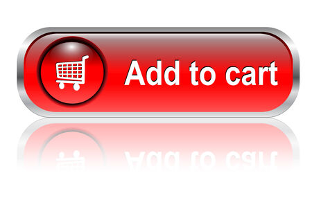 add button: Shopping cart, buy icon button, red glossy with shadow